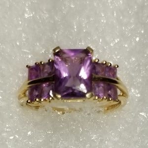 Amethyst Stepped Stone Ring, 14k Gold
